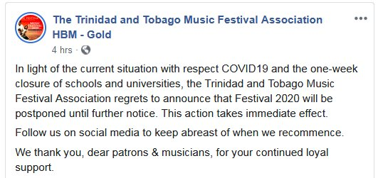 Trinidad and Tobago Music Festival 2020 postponed
