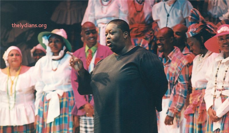 Pat Bishop speaks with the audience after the Opera L'Elisir D'Amore 1996